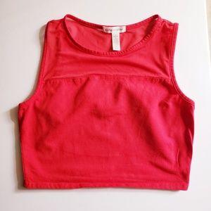 3/$15 Juniors Sleeveless Mesh Crop Top Red size L